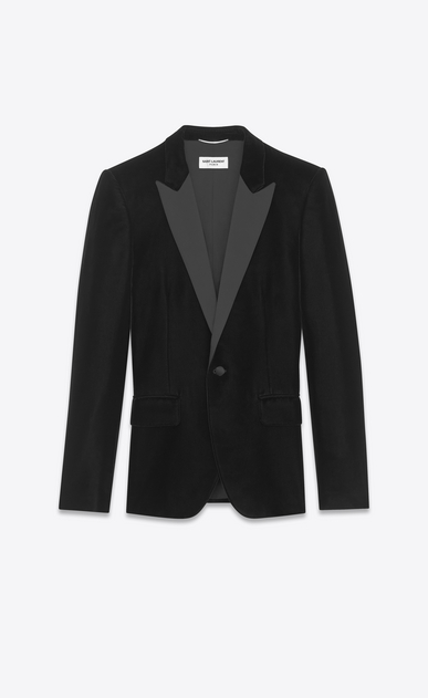 Peaked lapel tuxedo jacket in velours Saint Laurent