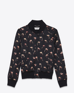 SAINT LAURENT Casual Jackets U Teddy Jacket in Black and Pink Flamingo Printed Satin f