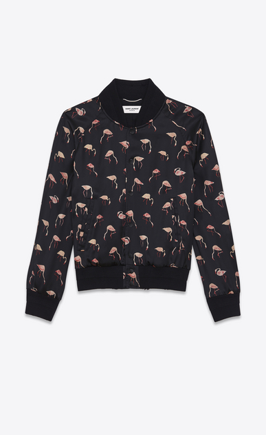 SAINT LAURENT Casual Jackets Man Teddy Jacket in Black and Pink Flamingo Printed Satin a_V4
