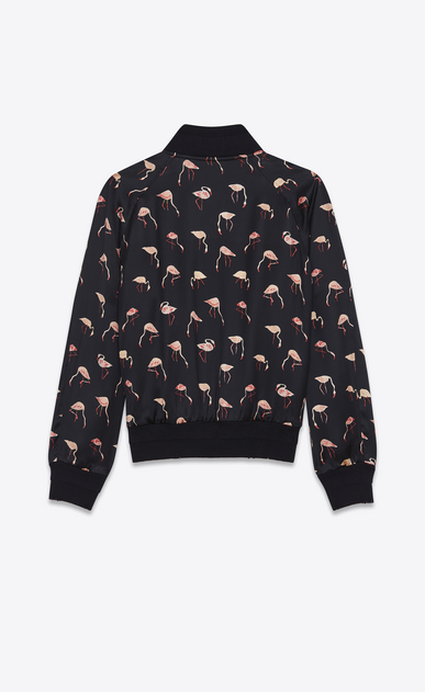 SAINT LAURENT Casual Jackets U Teddy Jacket in Black and Pink Flamingo Printed Satin b_V4