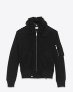 SAINT LAURENT Casual Jackets U Classic Bomber Jacket in Black Corduroy and Shearling f