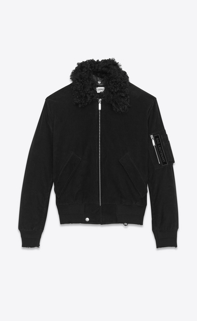 SAINT LAURENT Casual Jackets U Classic Bomber Jacket in Black Corduroy and Shearling a_V4