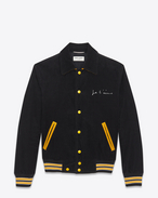 "SAINT LAURENT Casual Jacken U ""JE T'AIME"" TEDDY Jacket in Black and Yellow Cotton Corduroy f"