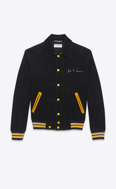 "SAINT LAURENT Casual Jackets Man ""JE T'AIME"" TEDDY Jacket in Black and Yellow Cotton Corduroy a_V4"