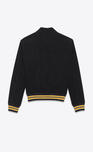 "SAINT LAURENT Casual Jackets U ""JE T'AIME"" TEDDY Jacket in Black and Yellow Cotton Corduroy b_V4"