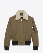 SAINT LAURENT Casual Jackets U Classic Bomber Jacket in Khaki Cotton Canvas and Natural Shearling f