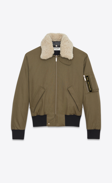 SAINT LAURENT Casual Jackets U Classic Bomber Jacket in Khaki Cotton Canvas and Natural Shearling a_V4
