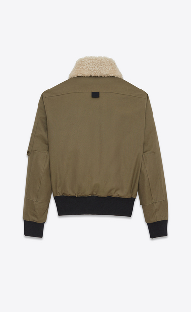 SAINT LAURENT Casual Jackets U Classic Bomber Jacket in Khaki Cotton Canvas and Natural Shearling b_V4