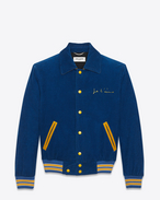 "SAINT LAURENT Casual Jacken U ""JE T'AIME"" TEDDY Jacket in Royal Blue and Yellow Cotton Corduroy f"