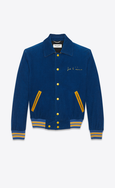 "SAINT LAURENT Casual Jackets U ""JE T'AIME"" TEDDY Jacket in Royal Blue and Yellow Cotton Corduroy a_V4"