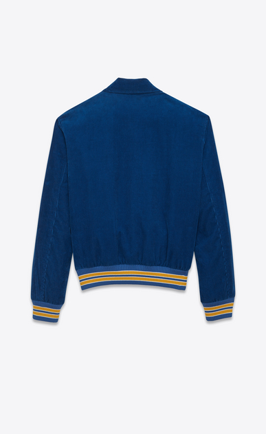 "SAINT LAURENT Casual Jackets U ""JE T'AIME"" TEDDY Jacket in Royal Blue and Yellow Cotton Corduroy b_V4"