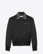 "SAINT LAURENT Casual Jackets U ""JE T'AIME"" TEDDY Jacket in Black Satin and Clear Crystal f"