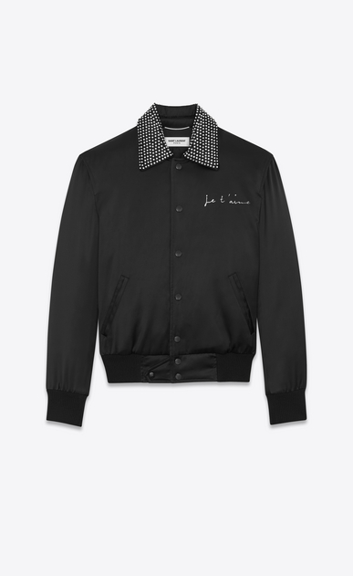 "SAINT LAURENT Casual Jackets Man ""JE T'AIME"" TEDDY Jacket in Black Satin and Clear Crystal a_V4"