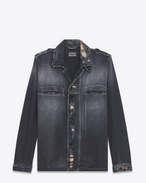 SAINT LAURENT Casual Jackets U Military Shirt Jacket in Washed Black Denim f