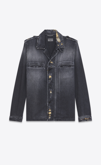 SAINT LAURENT Casual Jackets U Military Shirt Jacket in Washed Black Denim a_V4