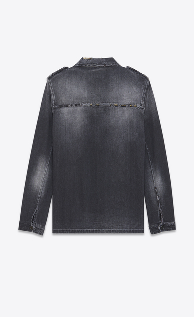 SAINT LAURENT Casual Jackets U Military Shirt Jacket in Washed Black Denim b_V4