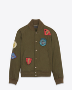 SAINT LAURENT Casual Jackets U Teddy Multi-Patch Jacket in Dark Khaki Denim Twill f