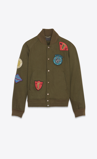 SAINT LAURENT Casual Jackets U Teddy Multi-Patch Jacket in Dark Khaki Denim Twill a_V4