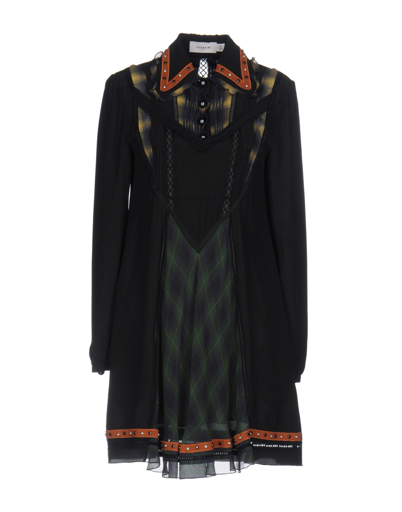 《送料無料》COACH レディース ミニワンピース&ドレス ブラック 2 シルク 100%