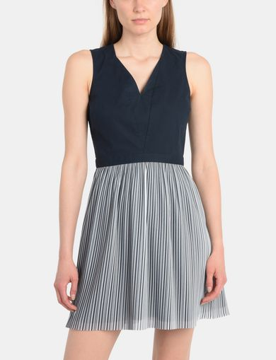 POPLIN MIX FIT AND FLARE DRESS
