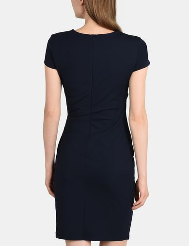 ASYMMETRICAL WRAP FRONT SHEATH DRESS