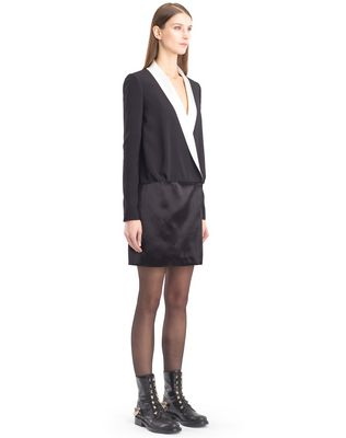 LANVIN SATIN SABLE TUXEDO DRESS Dress D d