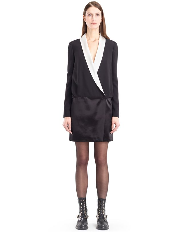 LANVIN SATIN SABLE TUXEDO DRESS Dress D f