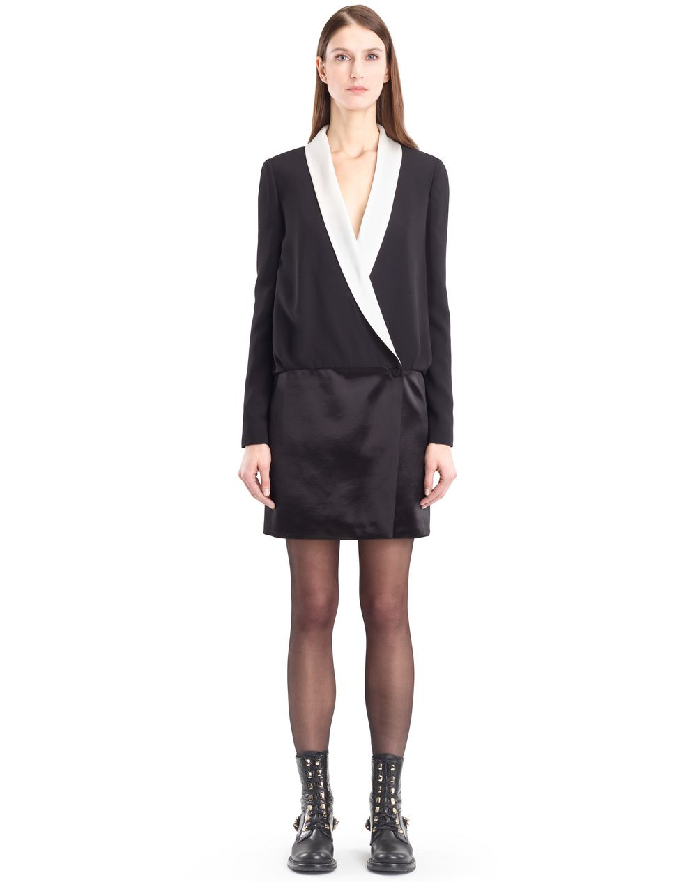 SATIN SABLE TUXEDO DRESS - Lanvin