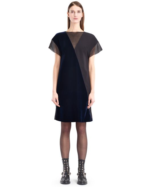 lanvin flowy velvet dress women