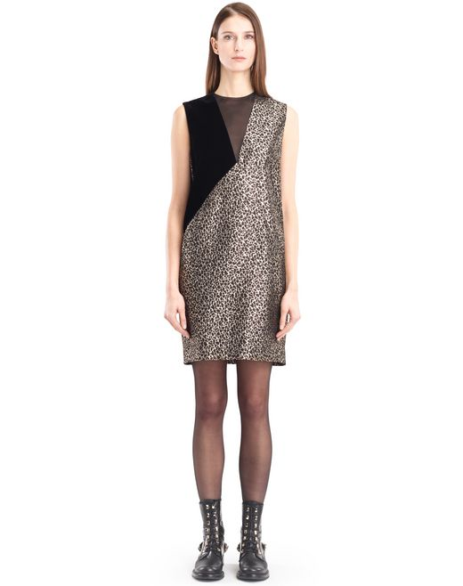lanvin golden leopard dress women
