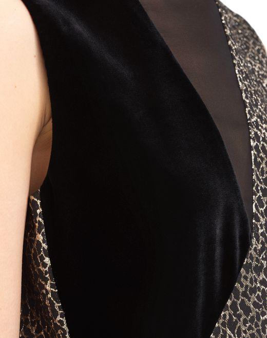 lanvin abito con stampa leopardata dorata donna