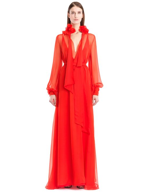 lanvin long silk chiffon dress women