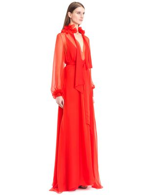 LANVIN LONG SILK CHIFFON DRESS Long dress D d