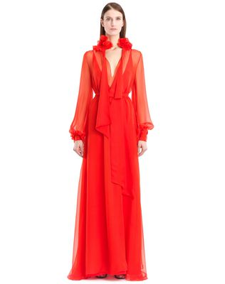 LANVIN LONG SILK CHIFFON DRESS Long dress D f