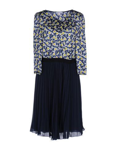 PATRIZIA PEPE Damen Knielanges Kleid Dunkelblau Größe 34 100% Seide Polyester Polyamid Elastan