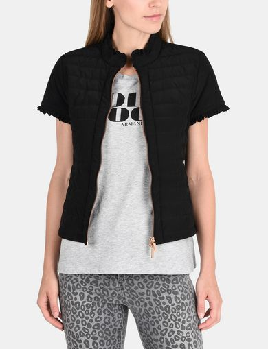 SHORT SLEEVE RUFFLE DETAIL QUILTED JACKET