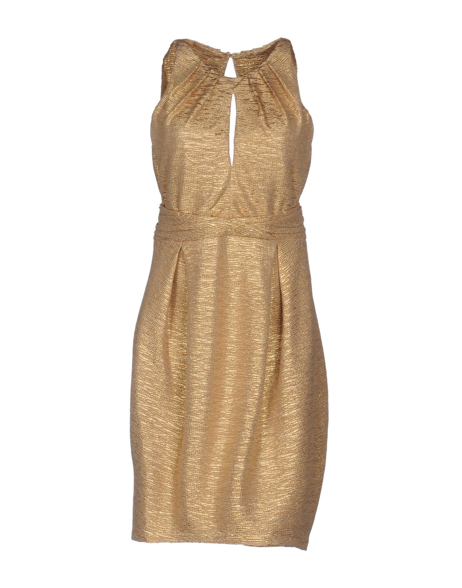 ANNARITA N. Damen Kurzes Kleid Farbe Gold Größe 6