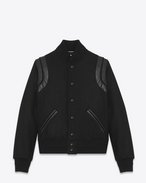 SAINT LAURENT Casual Jackets U Varsity jacket in virgin wool and black leather f
