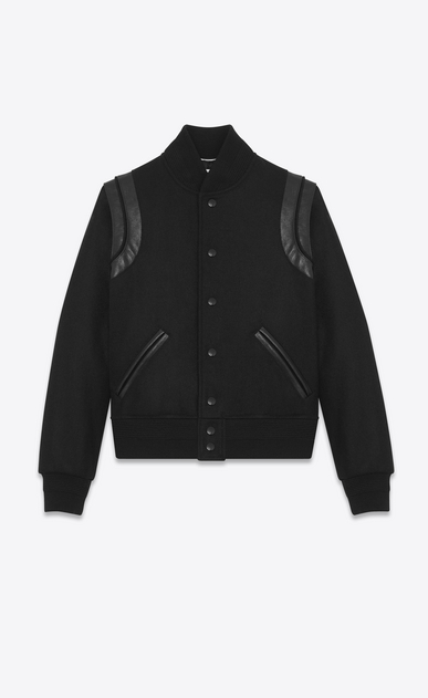 SAINT LAURENT Casual Jackets Man Varsity jacket in black virgin wool a_V4