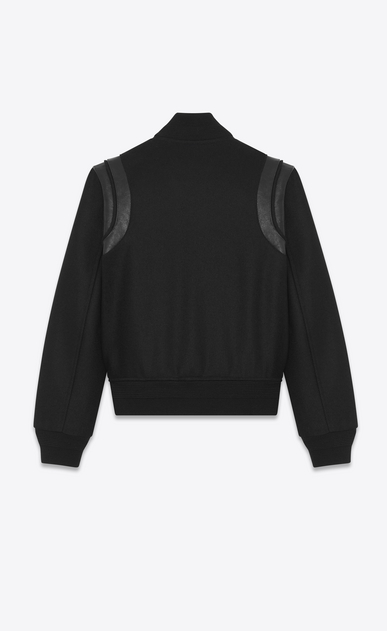 SAINT LAURENT Casual Jackets Man Varsity jacket in black virgin wool b_V4