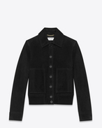 SAINT LAURENT Leather jacket U Black suede jacket f
