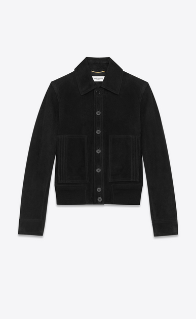 SAINT LAURENT Leather jacket U Black suede jacket a_V4