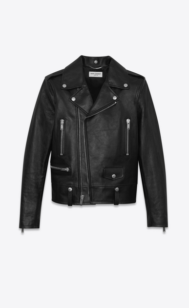 SAINT LAURENT Leather jacket U MOTORCYCLE jacket in black vintage leather a_V4
