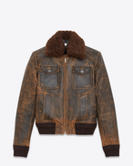 SAINT LAURENT Leather jacket U Aviator jacked in antiqued leather and brown shearling f