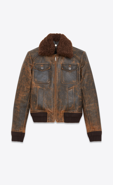 SAINT LAURENT Leather jacket Man Aviator jacked in antiqued leather and brown shearling a_V4