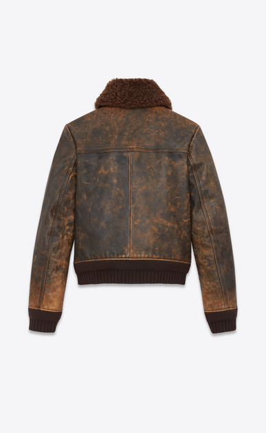 SAINT LAURENT Leather jacket Man Aviator jacked in antiqued leather and brown shearling b_V4