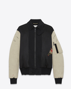 SAINT LAURENT Casual Jackets U Embroidered bomber jacked in black military cotton with off white sleeves f