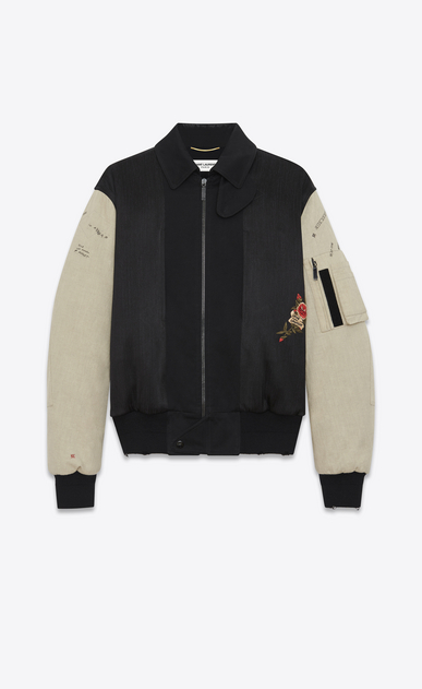 SAINT LAURENT Casual Jackets Man embroidered bomber jacket in black military cotton with off white sleeves a_V4