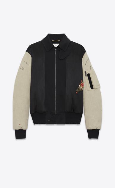 SAINT LAURENT Casual Jacken Herren Bomberjacke mit Stickerei aus schwarzem Military-Baumwolle und gebrochen weißen Ärmeln a_V4