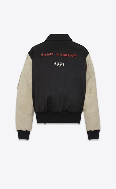SAINT LAURENT Casual Jacken U Bomberjacke mit Stickerei aus schwarzem Military-Baumwolle und gebrochen weißen Ärmeln b_V4